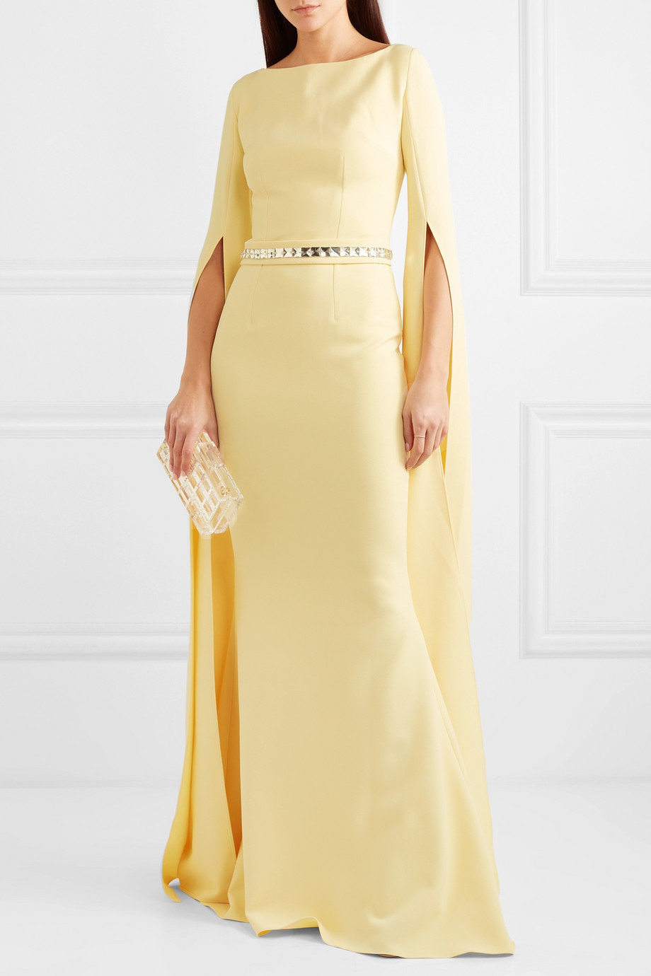 Safiyaa Crystal-embellished stretch-crepe gown