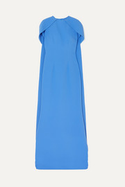 Safiyaa Cape-effect stretch-crepe gown