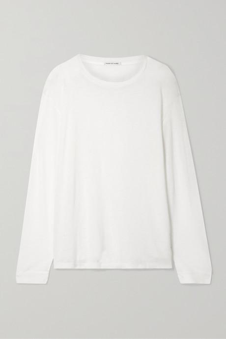 White Marlon slub cashmere and silk-blend top | Frances de Lourdes kBoZNv