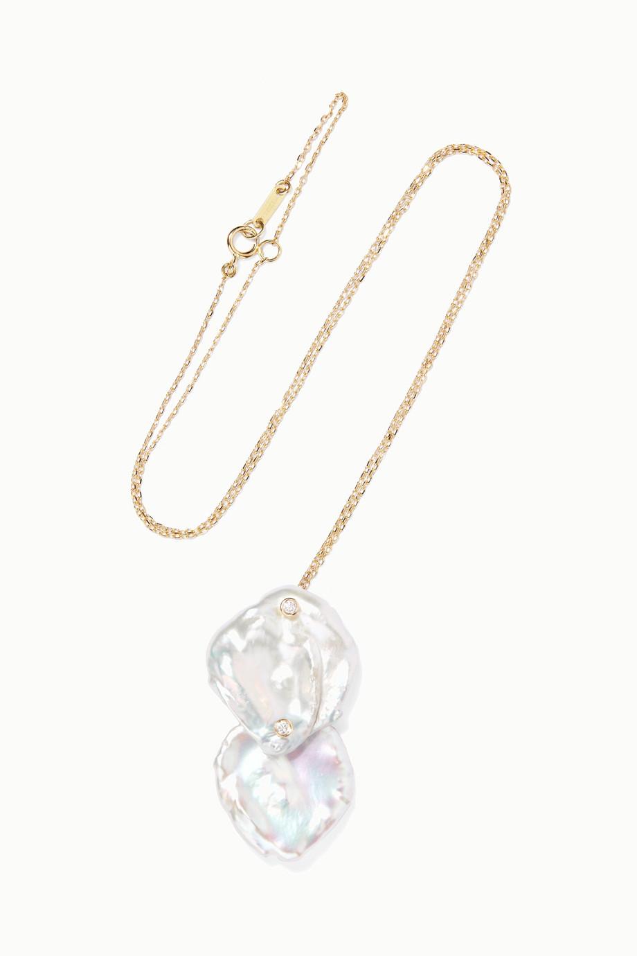 Mizuki 14K 黄金、珍珠、钻石项链