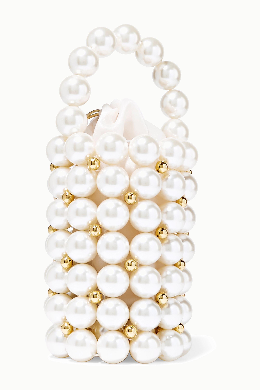 Vanina Comino faux pearl and gold-tone beaded tote