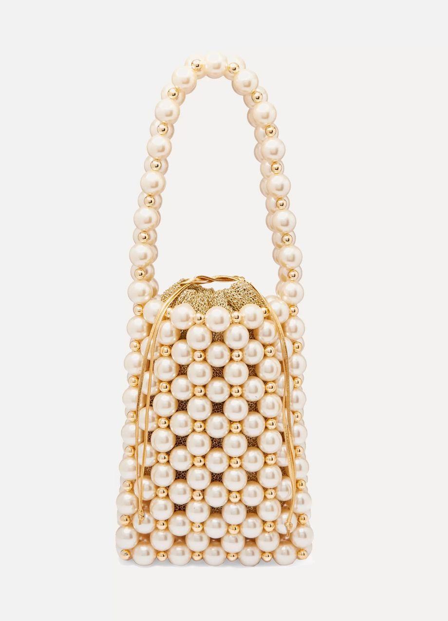 Vanina Sicilia faux pearl and gold-tone beaded tote