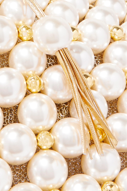 Vanina Simi small faux pearl and gold-tone beaded tote