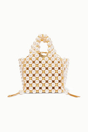 Vanina Simi small faux pearl and gold-tone beaded tote