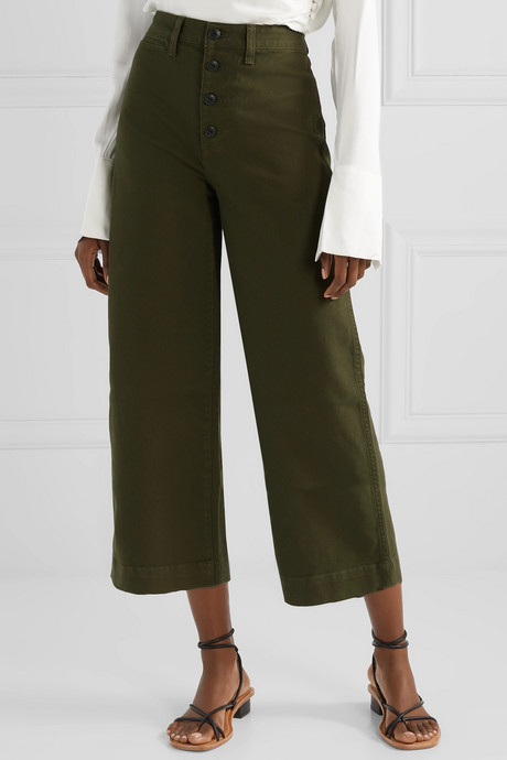 Emmett stretch-cotton canvas wide-leg pants