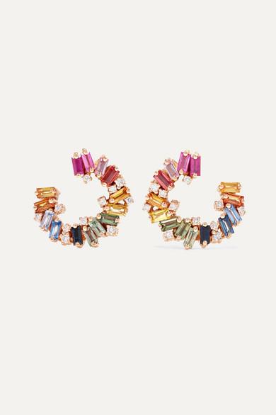 Spiral 18-Karat Rose Gold, Sapphire And Diamond Earrings
