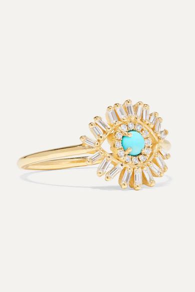 18-Karat Gold, Diamond And Turquoise Ring
