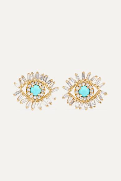 18-Karat Gold, Turquoise And Diamond Earrings