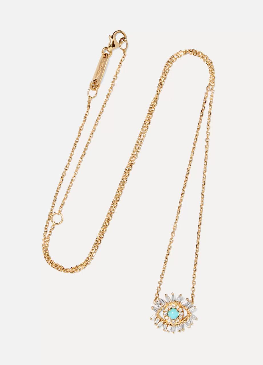 Suzanne Kalan Collier en or 18carats, turquoise et diamants