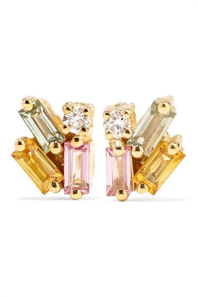 18-Karat Gold, Sapphire And Diamond Earrings