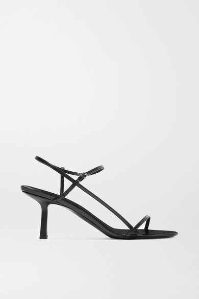 The Row Nude Strappy Leather Heeled Sandals In Black