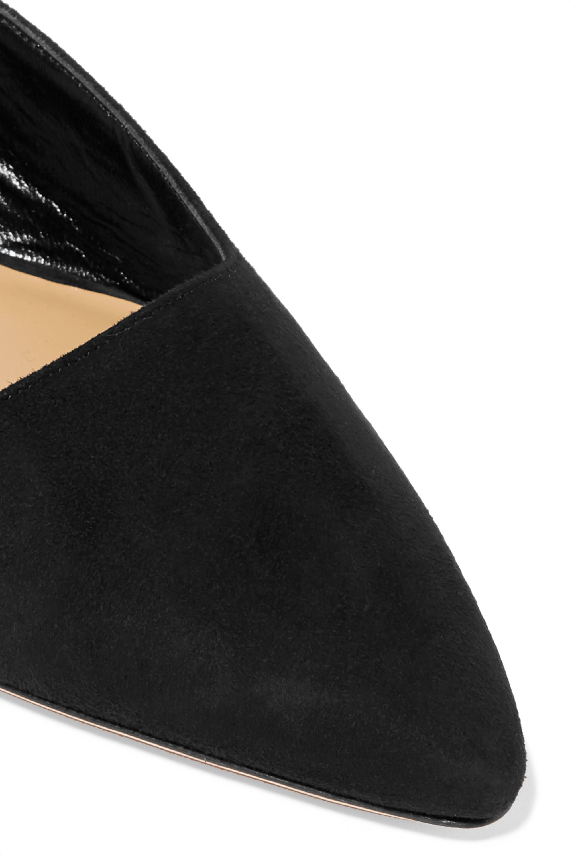 The Row Coco suede and moire mules