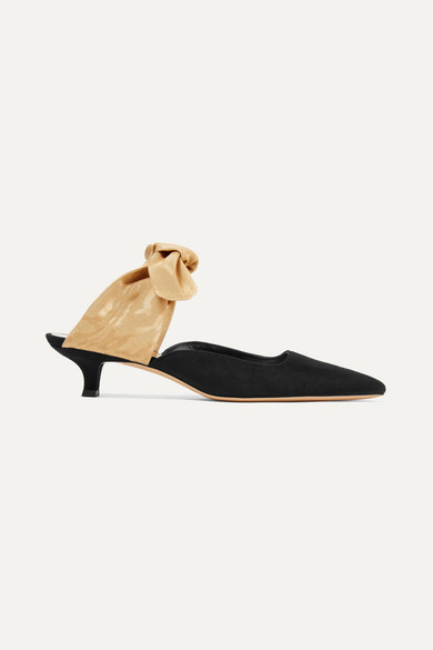 The Row Sandals Coco suede and moire mules