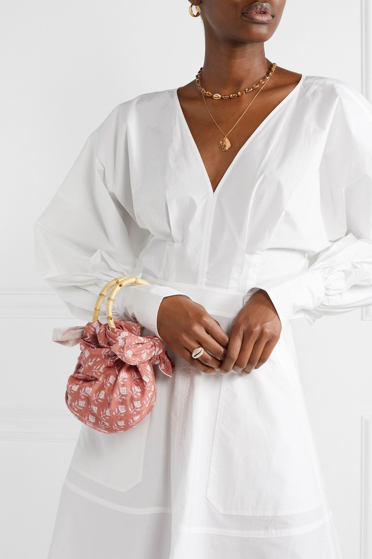 Emily Levine Sac à main en voile de coton à imprimé fleuri et à nœud Dumpling