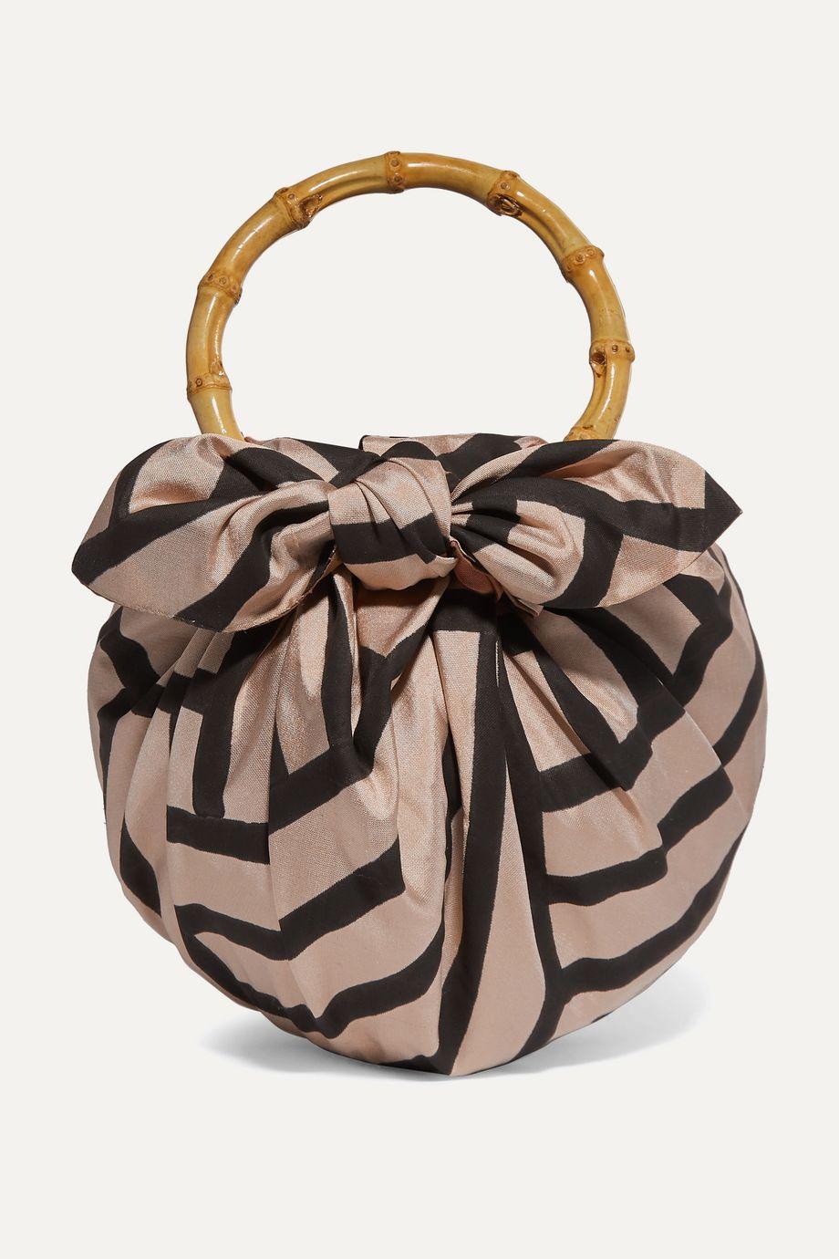 Emily Levine Dumpling knotted striped silk-blend tote