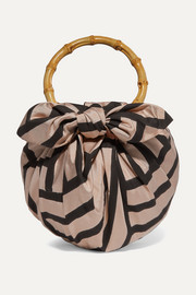 Dumpling knotted striped silk-blend tote