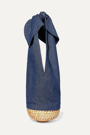 Knot denim and wicker tote