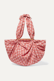Tokyo knotted floral-print cotton-voile tote
