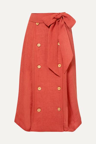 LISA MARIE FERNANDEZ | Lisa Marie Fernandez - Diana Linen-Blend Midi Skirt - Bright Orange | Goxip