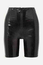 Lisa Marie Fernandez Zip-detailed stretch-PVC shorts
