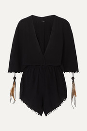 Caravana Izamal fringed cotton-gauze playsuit