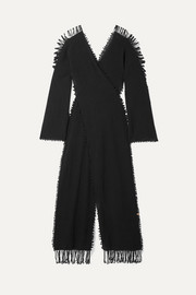 Caravana Xaman Ek fringed distressed wrap-effect cotton-gauze maxi dress