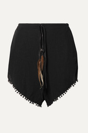 Caravana Tizimin leather and feather-trimmed fringed cotton-gauze shorts