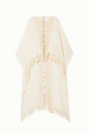 Caravana Tepeu leather-trimmed fringed cotton-gauze poncho