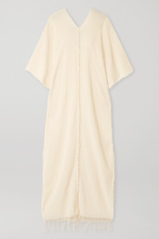 Caravana Saas fringed crinkled cotton-gauze kaftan