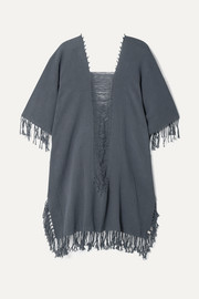 Caravana Ak Kin fringed distressed cotton-gauze kaftan