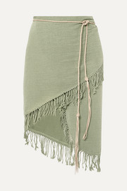 Caravana Tuzuk leather-trimmed fringed cotton-gauze pareo