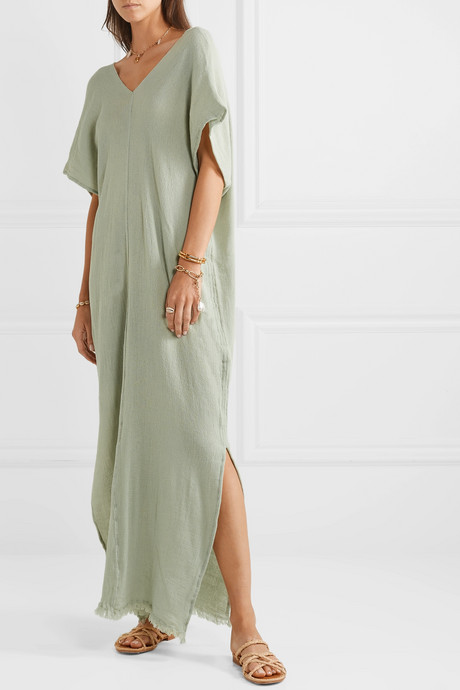 Itzanami fringed cotton-gauze maxi dress