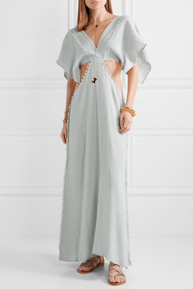 Conkal Leather Trimmed Cotton Gauze Maxi Dress by Caravana