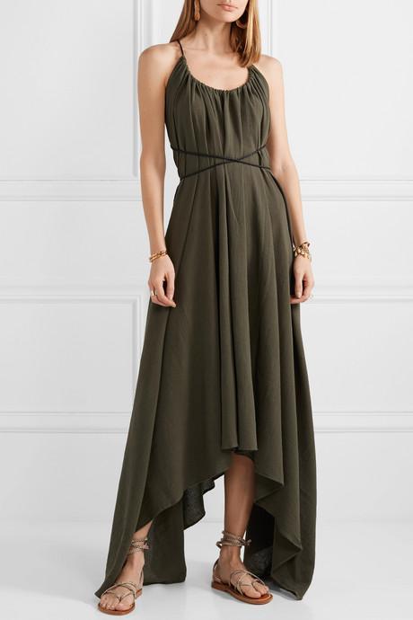 Takax leather-trimmed asymmetric cotton-gauze maxi dress