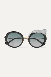 Rose Et La Roue crystal-embellished round-frame acetate and gold-tone sunglasses