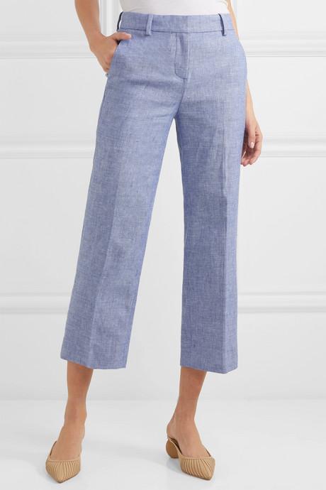 Peyton cropped linen-blend straight-leg pants