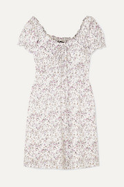 Shirred floral-print voile mini dress
