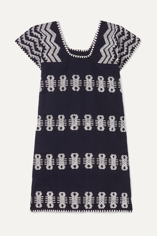 Pippa Holt Kids Huipil-Kleid aus Baumwolle mit Stickereien