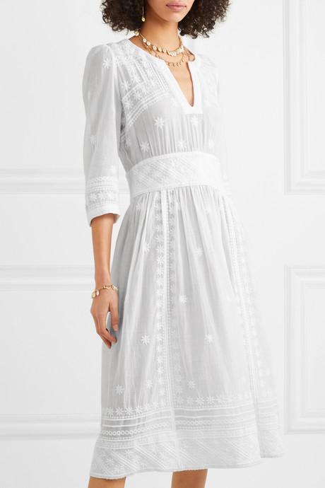 Eline embroidered cotton-voile midi dress