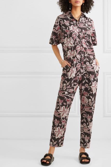 Lindsie floral-print cotton jumpsuit