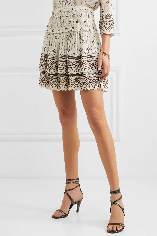 Isabel Marant Andora tiered embellished printed cotton-gauze mini skirt