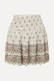 Isabel Marant Andora tiered embellished printed cotton-gauze mini skirt