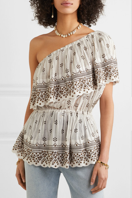 Astrid one-shoulder tiered embellished printed cotton-gauze top