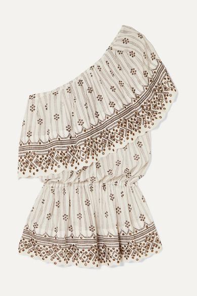 ISABEL MARANT | Isabel Marant - Astrid One-Shoulder Tiered Embellished Printed Cotton-Gauze Top - White | Goxip
