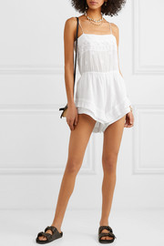 Elery embroidered cotton-gauze playsuit