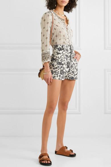 Isabel Marant Shorts Loya floral-print denim shorts