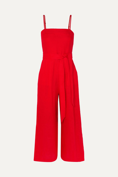 J.CREW | J.Crew - Marseille Belted Linen Jumpsuit - Red | Goxip
