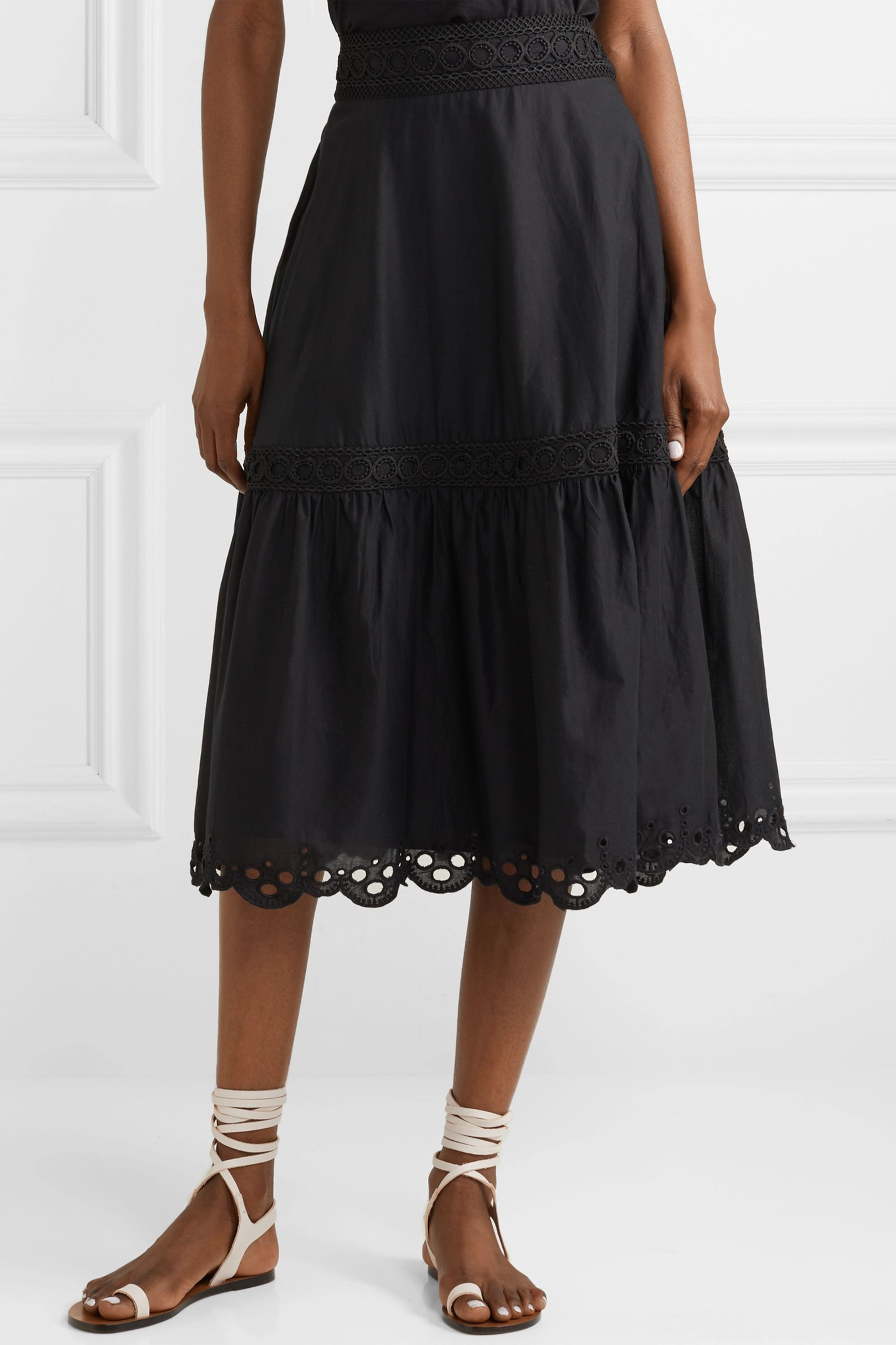 J.Crew Broderie anglaise-trimmed organic cotton-voile midi skirt