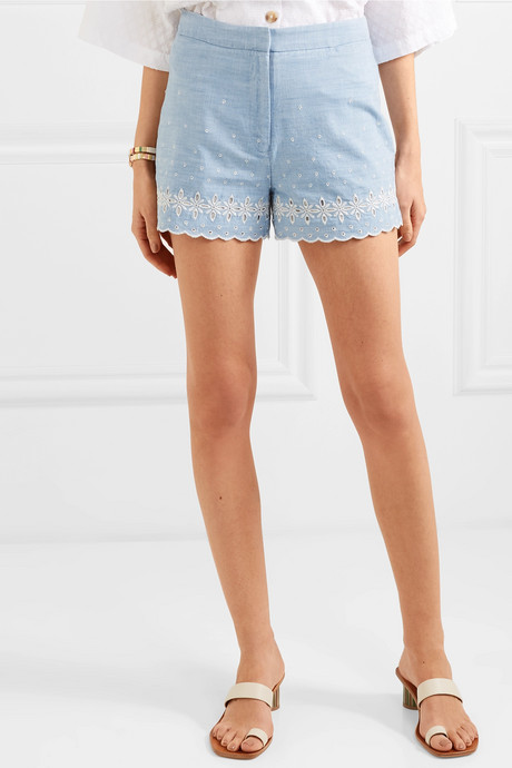 Broderie anglaise cotton-chambray shorts
