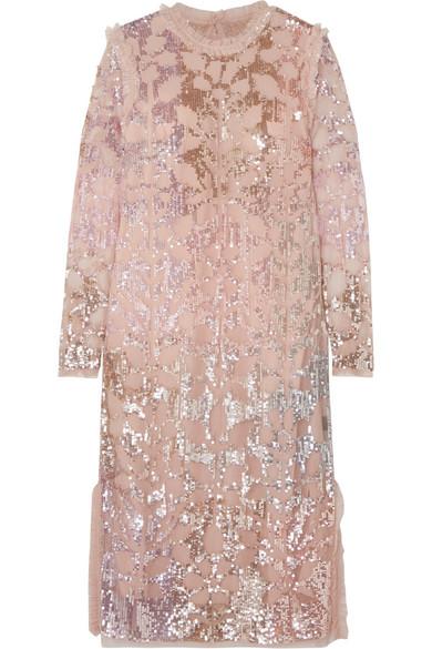 NEEDLE & THREAD | Needle & Thread - Sequin-embellished Tulle Dress - Baby pink | Goxip